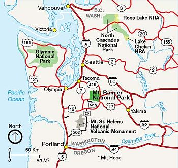 Mount Rainier National Park Travel Guide At Wikivoyage - Mt rainier on us map