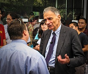 Ralph Nader presidential campaign, 2008 - Nader speaks to a reporter after giving a talk at UC San Diego one week before the general election