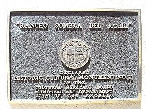 Orcutt Ranch Horticulture Center - Plaque designating Rancho Sombra del Roble