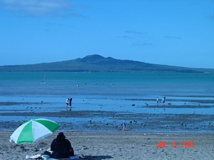 A beach in Mission Bay, Auckland, New Zealand,...