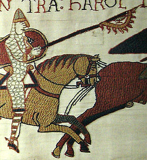 Raven banner - Detail from the Bayeux Tapestry, showing a Norman knight carrying what appears to be a raven banner.