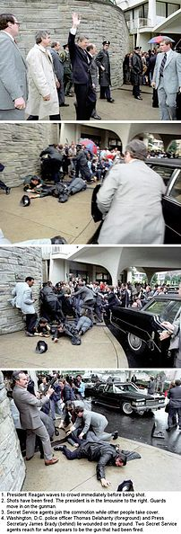 A montage of the Reagan assassination attempt