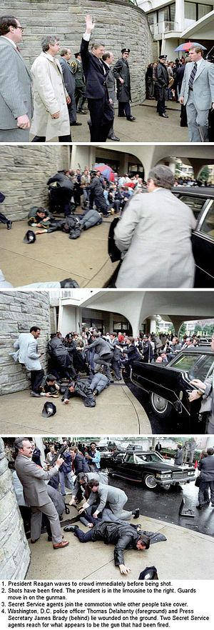 Attempted assassination of Ronald Reagan - In the last photo, Secret Service Agent Robert Wanko can be seen holding an Uzi.