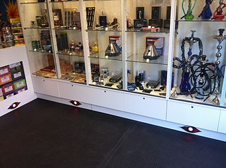 Head shop - Bongs and pipes on display at a typical head shop