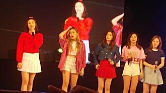 Red Velvet (band) - Red Velvet on stage at the Myongji University Festival in 2016