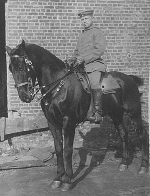 "German cavalry in World War I - Soldier of the Grenadier-Regiment ""König Friedrich Wilhelm I."" (2. Ostpreußisches) Nr. 3 in Königsberg during equestrian training"