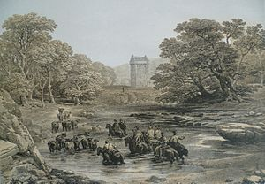 Border Reivers - Reivers at Gilnockie Tower, from a 19th-century print