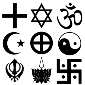 Symbols of various faiths