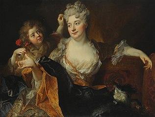 Porträt der Marguerite-Elisabeth Forest de Largillierre und ihres Sohnes Nicolás