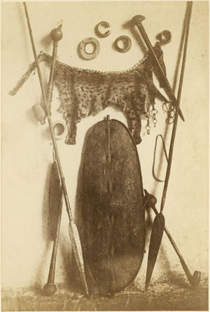 "Shilluk people - Photo of Shilluk ""material culture"" from the late 1870s"
