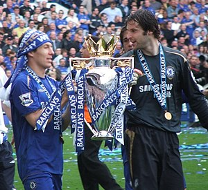 Petr Čech - Čech and Arjen Robben celebrate their second Premier League title in 2006.