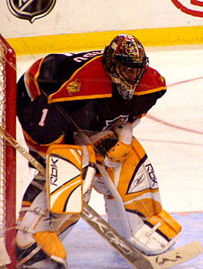 A masked ice hockey goaltender. He wears white and yellow goaltending pads and a dark blue and red jersey with an obscured logo of a leaping panther.