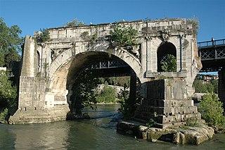 Pons Aemilius Roman stone bridge in Rome, Italy