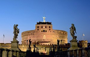 Castel Sant'Angelo from the bridge. The top st...