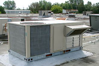 HVAC - Rooftop HVAC unit with view of fresh air intake vent