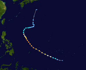 1957 Pacific typhoon season - Image: Rose 1957 track