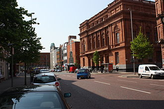 Royal Avenue, Belfast - A view of upper Royal Avenue, 2011. On the right is the Belfast Central Library, which opened in 1888.