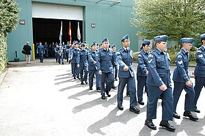 Royal Canadian Air Cadets - An Air Cadet squadron marching.