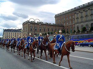 Royal Guards (Sweden) - Mounted Royal Guards in front of the palace.