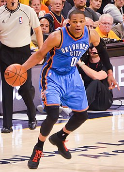 Russell Westbrook dribbling vs Cavs (cropped)