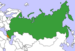 Map indicating locations of Russia and Georgia