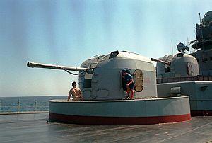 AK-100 (naval gun) - 3.9-inch dual purpose guns and the bridge aboard the Russian guided missile destroyer Admiral Vinogradov (BPK-554).