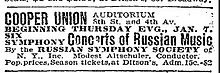 "Newspaper clipping giving the venue as ""Cooper Union Auditorium 8th St. and 4th Av."""