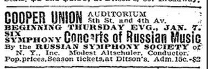 Russian Symphony Orchestra Society - Advertisement for the orchestra's first performance on January 7, 1904