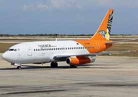 Rutaca Boeing 737-200 in new livery at Porlamar Airport.jpg