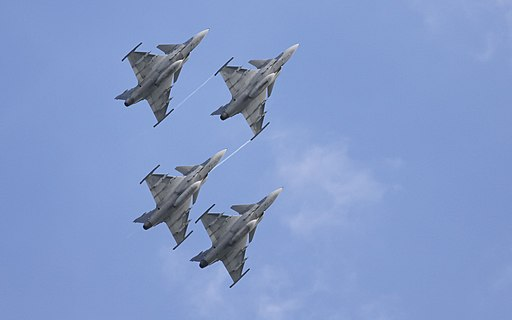 SAAB Jas 39 Gripens in flying formation