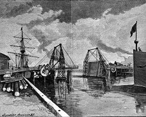 Goose Island (Chicago) - Illustration of Weed Street bridge from the cover of Scientific American on September 12, 1891