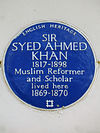 SIR SYED AHMED KHAN 1817-1898 Muslim Reformer and Scholar lived here 1869-1870.jpg