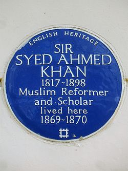 Sir syed ahmed khan 1817 1898 muslim reformer and scholar lived here 1869 1870