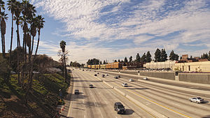 Ventura Freeway - The SR 134 portion of the Ventura Freeway at the western edge of Burbank, California looking west from N Pass Ave.