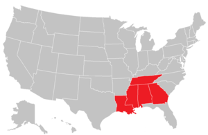 Southern States Athletic Conference - Image: SSAC map