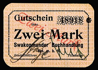 South West African mark - Image: SWA 15a Swakopmunder Buchhandlung Two Mark (1916)