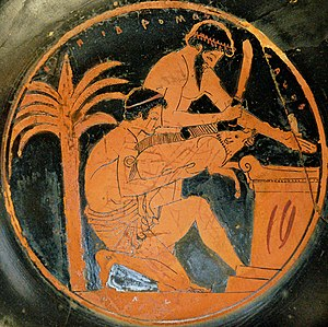 Animal sacrifice - Sacrifice of a young boar in ancient Greece (tondo from an Attic red-figure cup, 510–500 BC, by the Epidromos Painter, collections of the Louvre)