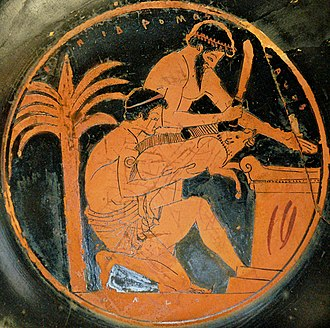 Animal sacrifice - Sacrifice of a pig in ancient Greece (tondo from an Attic red-figure cup, 510–500 BC, by the Epidromos Painter, collections of the Louvre)
