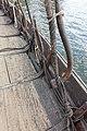 Saga Oseberg Details shroud-pins or vantnales to secure the shrouds to the hull, gunwale, oarholes, knees, deck etc Viking ship replica 2012 Tønsberg harbour Norway 2019-08-16 04307.jpg