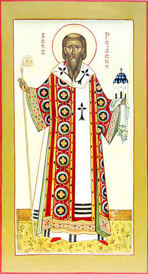 St Padarn's Church, Llanbadarn Fawr - St Padarn, as portrayed in an Orthodox icon. It is likely that St Padarn, if indeed a bishop, would have worn chasuble, stole and girdle, over the alb (the long white coat), a cappa (long black cloak) or (coloured) cope, a crown-like mitre and a pallium. There is a good chance he carried a crozier, and may also have worn a pectoral cross, around his neck.