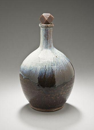 Agano ware - Agano ware sake bottle (tokkuri), Edo period, mid-19th century