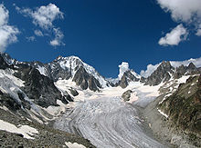 glacier in Switzerland flowing down from the Mont Blanc massif