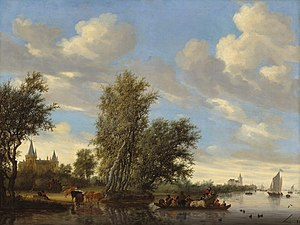 Salomon van Ruysdael - River Landscape with Ferry by Salomon van Ruisdael (1649) Oil on canvas, 101.5 x 134.8 cm. National Gallery of Art, Washington, D.C.