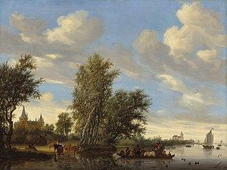 1649 in art - Image: Salomon van Ruysdael Rivierlandschap met veerpont (1649)