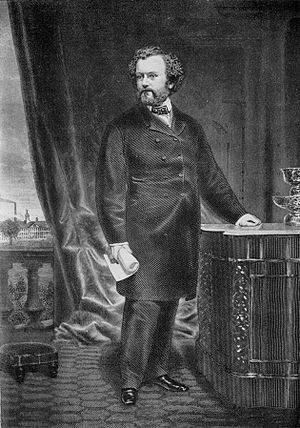 Samuel Colt - Portrait of Col. Samuel Colt, engraving by George Catlin after a painting by Charles Loring Elliott (Wadsworth Atheneum), Hartford