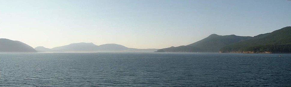 Panoramic view of the San Juan Islands from the ferry.