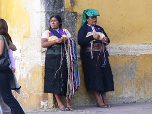 Tzotzil people - Two Tzotzil women on a street in San Cristobal