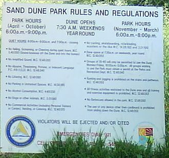 Sand Dune Park - The warning sign at Sand Dune Park, Manhattan Beach, California