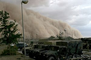 Outflow (meteorology) - A sandstorm (Haboob) approaching Al Asad, Iraq, just before nightfall on April 27, 2005.