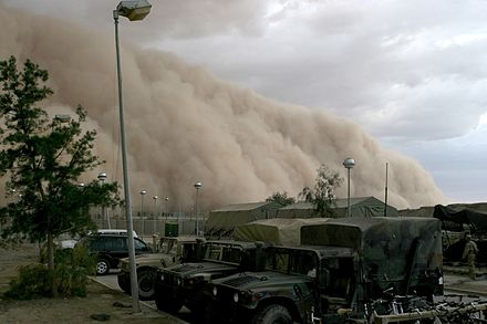 Dust storm about to engulf a military camp in Iraq, 2005 Sandstorm in Al Asad, Iraq.jpg
